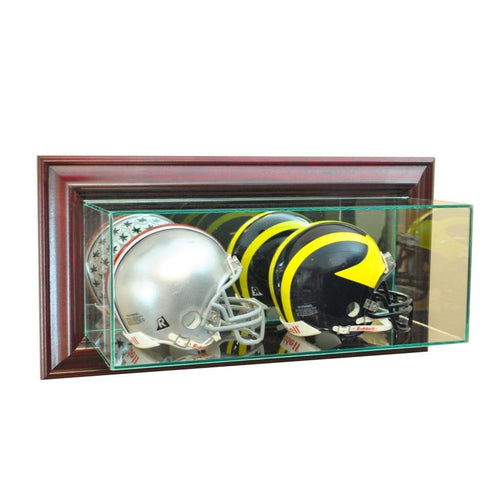 Wall Mounted Double Mini Football Helmet Display Case Cherry