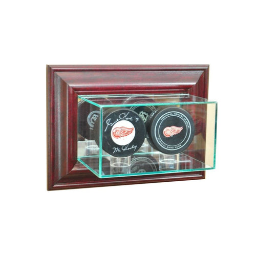 Wall Mounted Double Hockey Puck Display Case Cherry Hockey Display Cases