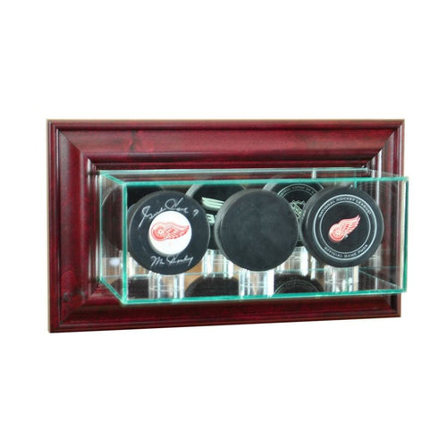 Wall Mounted Triple Hockey Puck Display Case Cherry Hockey Display Cases