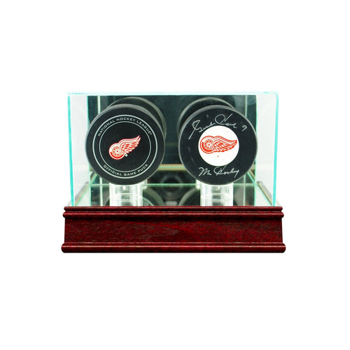 Double Hockey Puck Glass Display Case cherry sport