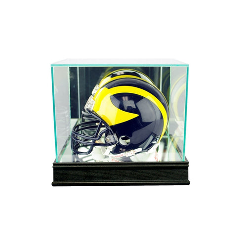 Display Cases 4 Pro Mold Mini Football Helmet Display Case Uv Safe Protection Black Base Easy And Simple To Handle