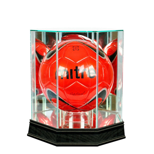 Soccer Ball Octagon Glass Display Case black sport