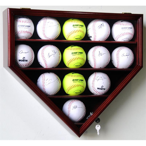 Fourteen Softball Home Plate Wood Cabinet Display Case