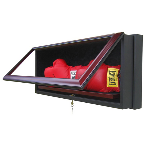 Two Boxing Glove Custom Hand Crafted Wood Cabinet Display Case