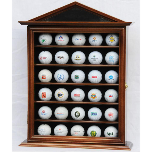 30 Golf Ball Designer Wood Cabinet Display Case