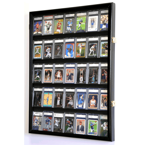 35 Graded/Slabbed Sports Card Display Case Wall Mount Cabinet