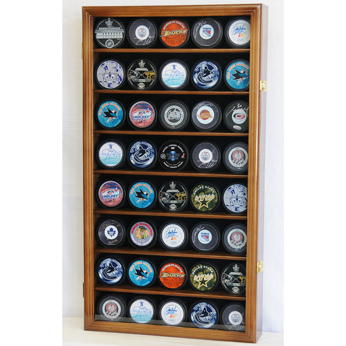 Forty Hockey Puck Square Wood Display Case Cabinet