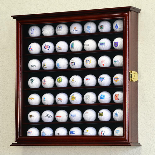 Forty Nine Golf Ball Square Wood Cabinet Display Case