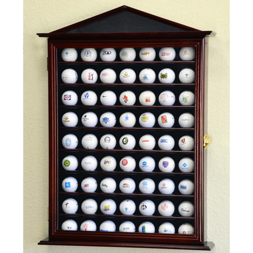 63 Golf Ball Designer Wood Cabinet Display Case