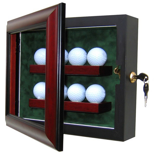 8 Golf Ball Custom Hand Crafted Wood Cabinet Display Case