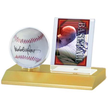 Baseball & Card Holder Light Wood Base by Ultra Pro
