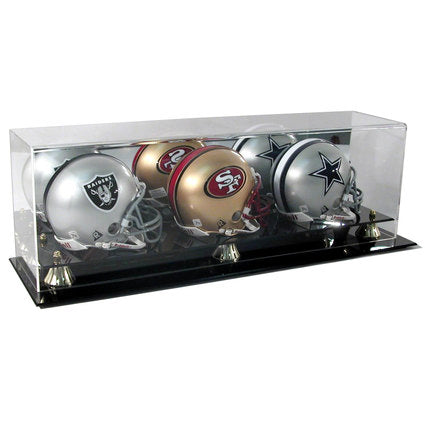 Triple Mini Helmet Premium Display Case with Wall Mount Option
