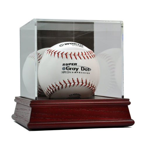 Softball Cherry Wood Base Display Case
