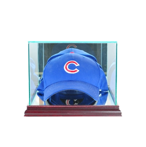 Cap/Hat Rectangle Glass Display Case cherry