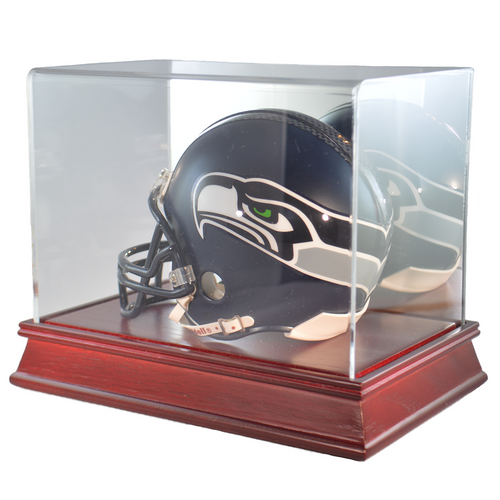 Mini Football Helmet Cherry Wood Base Display Case