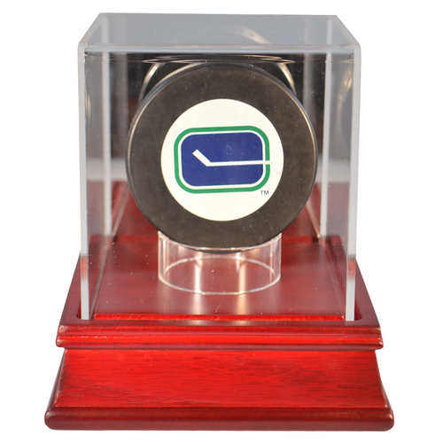 Hockey Puck Cherry Wood Base Display Case