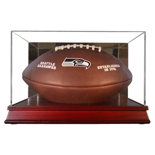 Football Cherry Wood Base Display Case
