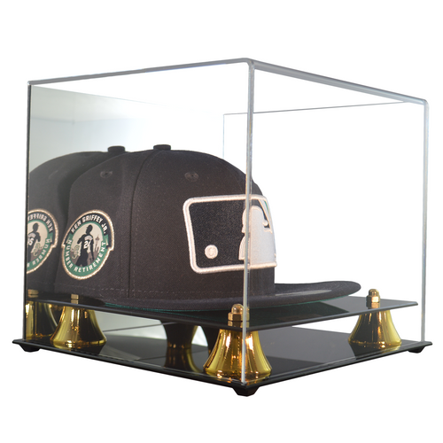 Baseball Hat Premium Display Case with Gold Risers