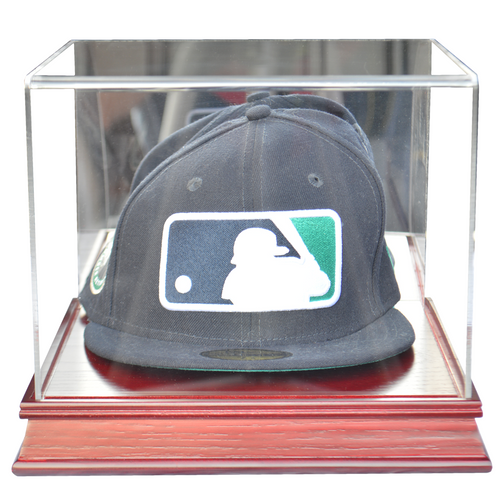 Baseball Hat Cherry Wood Base Display Case