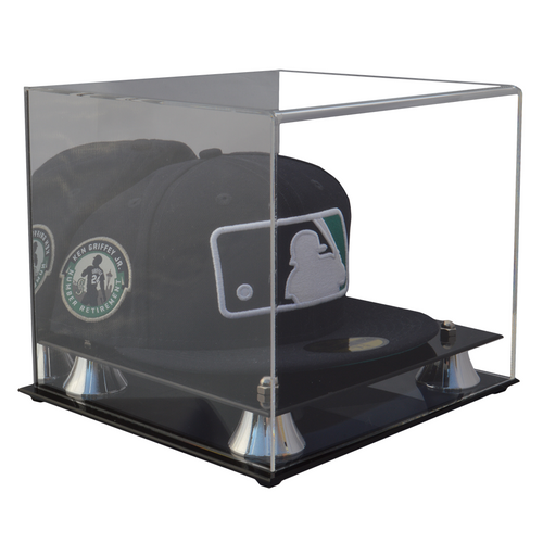 Baseball Hat Premium Display Case with Silver Risers