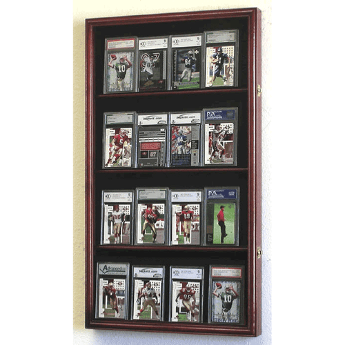 16 Graded/Slabbed Sports Card Display Case Wall Mount Cabinet