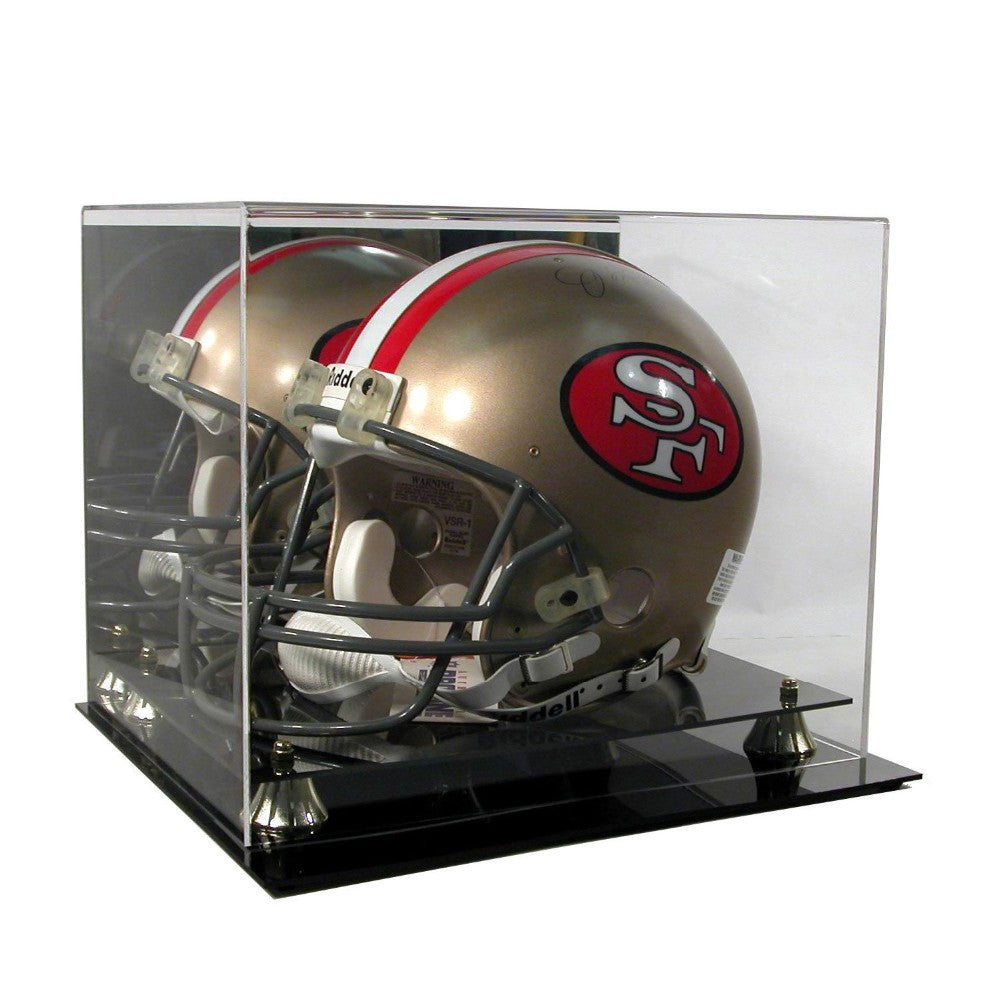 Football Helmet Premium Display Case with Gold Risers