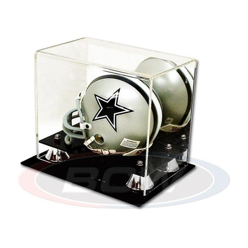 Mini Football Helmet Premium Display Case with Silver Risers