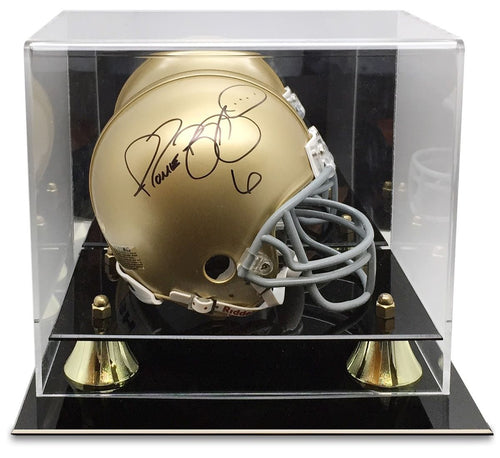 Mini Football Helmet Premium Display Case with Gold Risers
