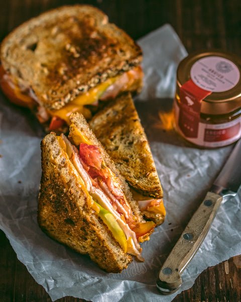 Apple turkey grilled sandwich with cheddar and whole grain honey mustard