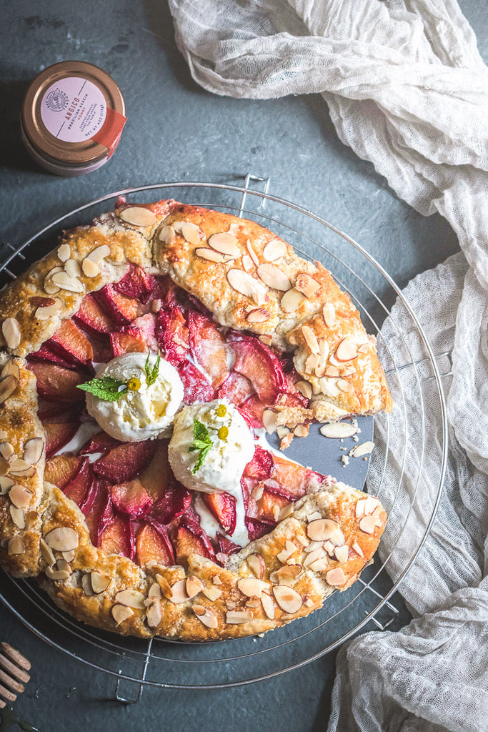 Almond Plum Galette with Bee Seasonal's Acacia Honey