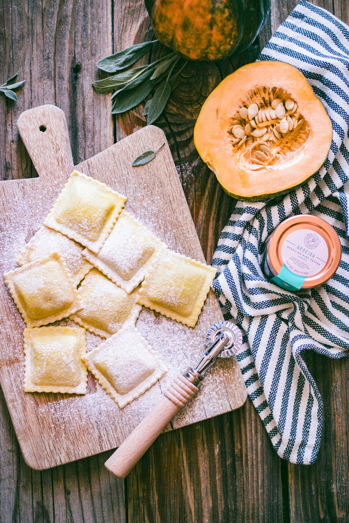 Squash Goat Cheese Ravioli with Honey Butter