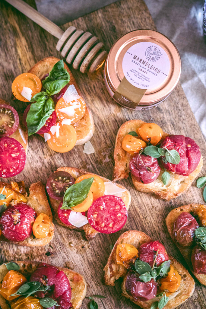 Heirloom Cherry Tomato Bruschettas with Organic Honey & Herbs