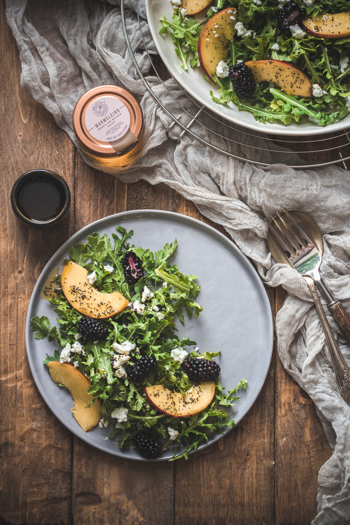 Arugula Fruit Salad with Honey Poppy Seed Dressing