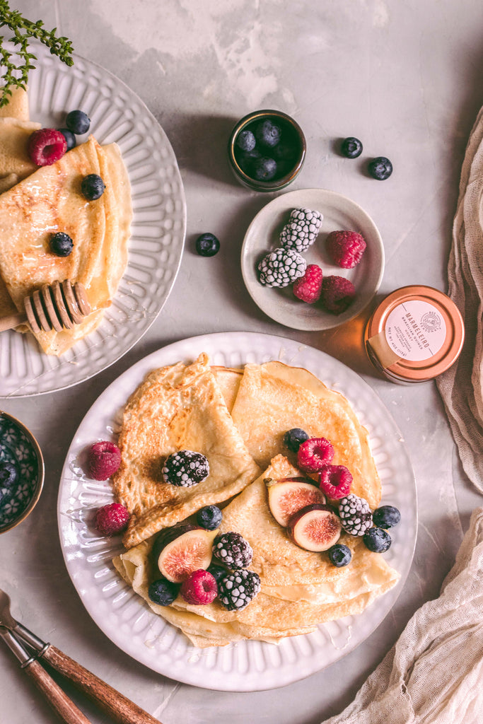Crepes with Seasonal Fruits and a Drizzle of Honey