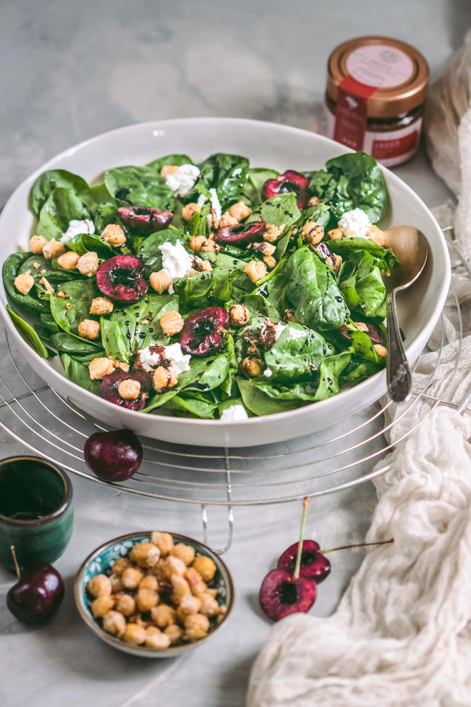 Spinach Salad with Candied Organic Honey Chickpeas