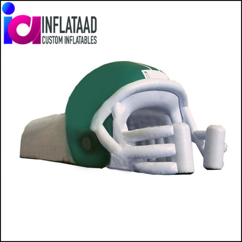 Football Helmet Tunnel Green White - Inflataad