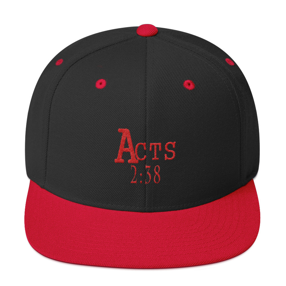 Acts 2:38 Red Embroidery Snapback Hat