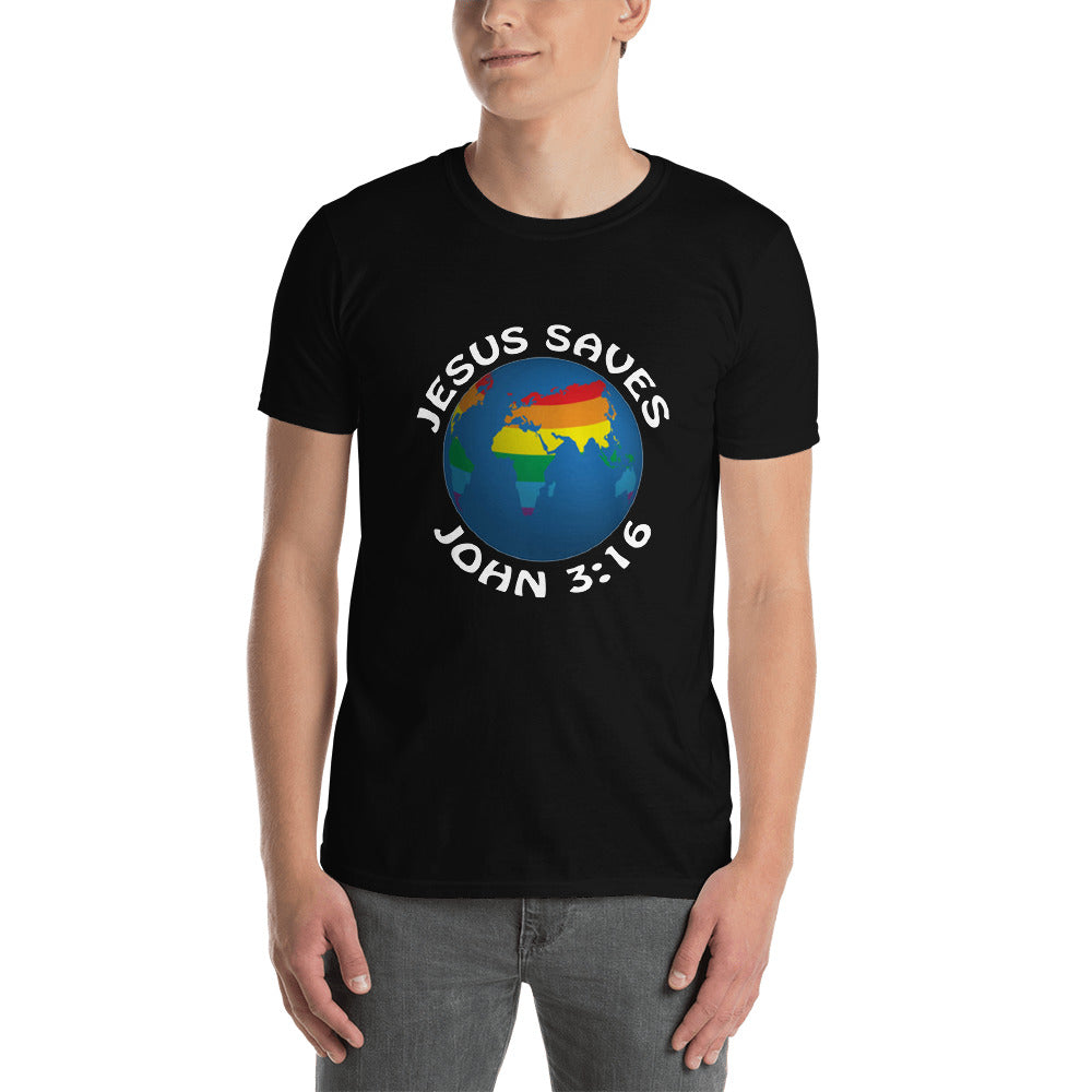 Jesus Saves Rainbow Globe Short-Sleeve Unisex T-Shirt