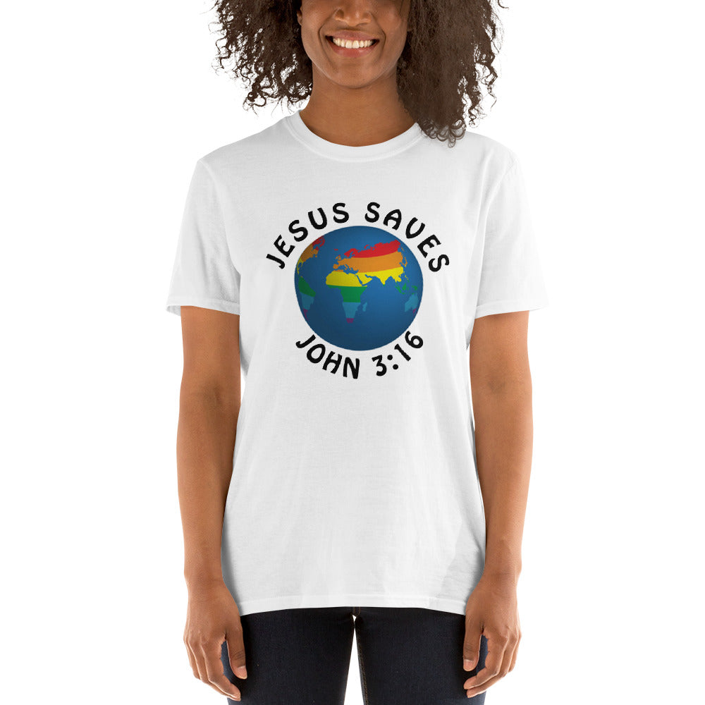 Jesus Saves Rainbow Globe grey & wht Short-Sleeve Unisex T-Shirt