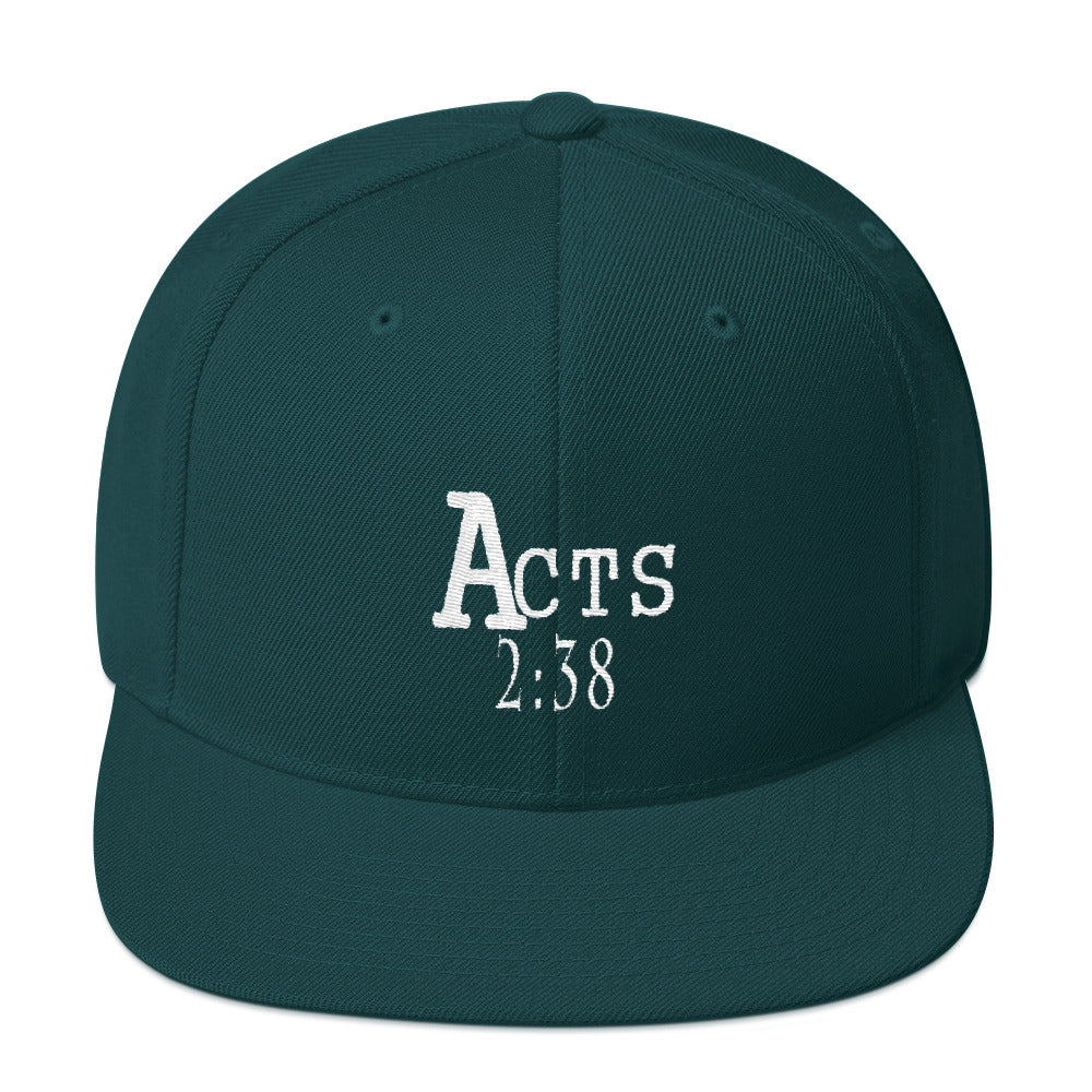 Acts 2:38 Wht Embroidery Snapback Hat
