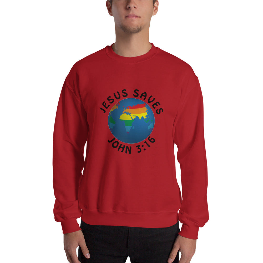 Jesus Saves Globe Sweatshirt