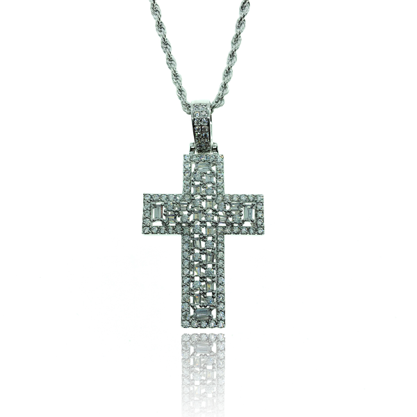 WHITE GOLD PAVE CROSS - The Shine Club