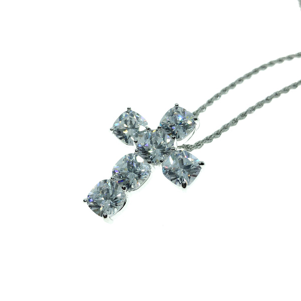 WHITE GOLD CUSHION CUT CROSS - The Shine club
