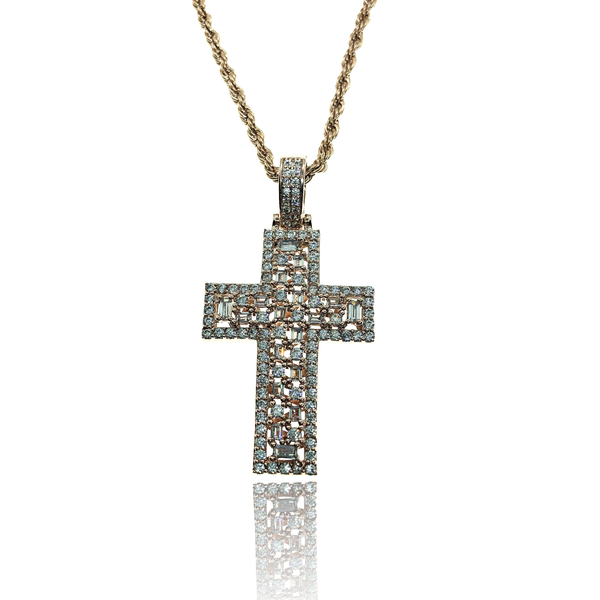 ROSE GOLD PAVE CROSS - The Shine club