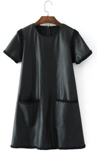 Crochet Trim Faux Leather Dress (ON SALE)