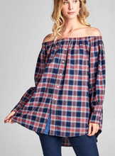 Flannel Off Shoulder Button Up (ON SALE)