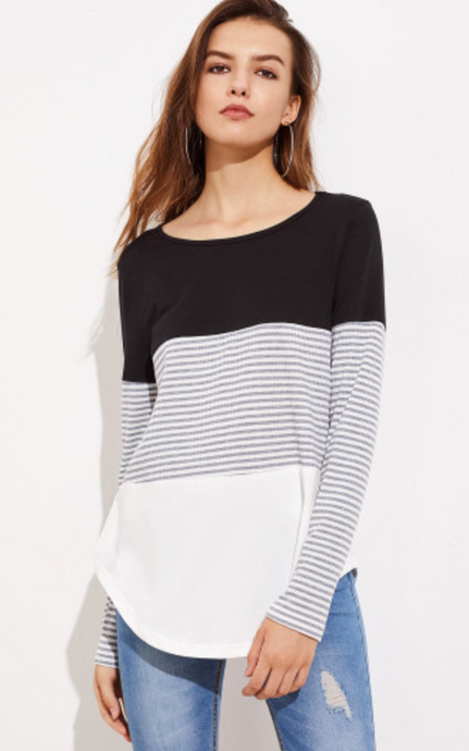 Color Block Striped Tee (ON SALE)