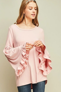 Pink Bell Sleeve Crew Neck (ON SALE)