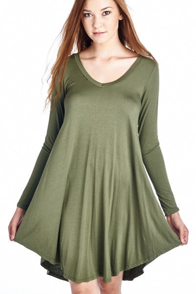 Olive Flare Tunic Dress (Plus Sizes) (ON SALE)