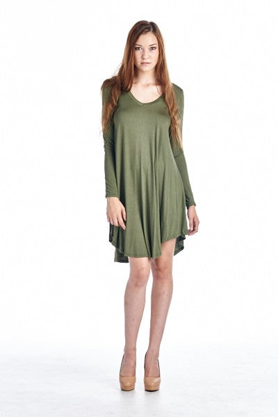 Olive Flare Tunic Dress (Plus Sizes)